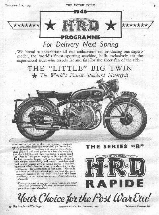 Vincent Motorcycle Ad