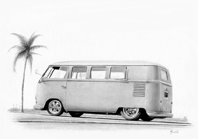 1954 Vw Barn Door Kombi Car Drawing